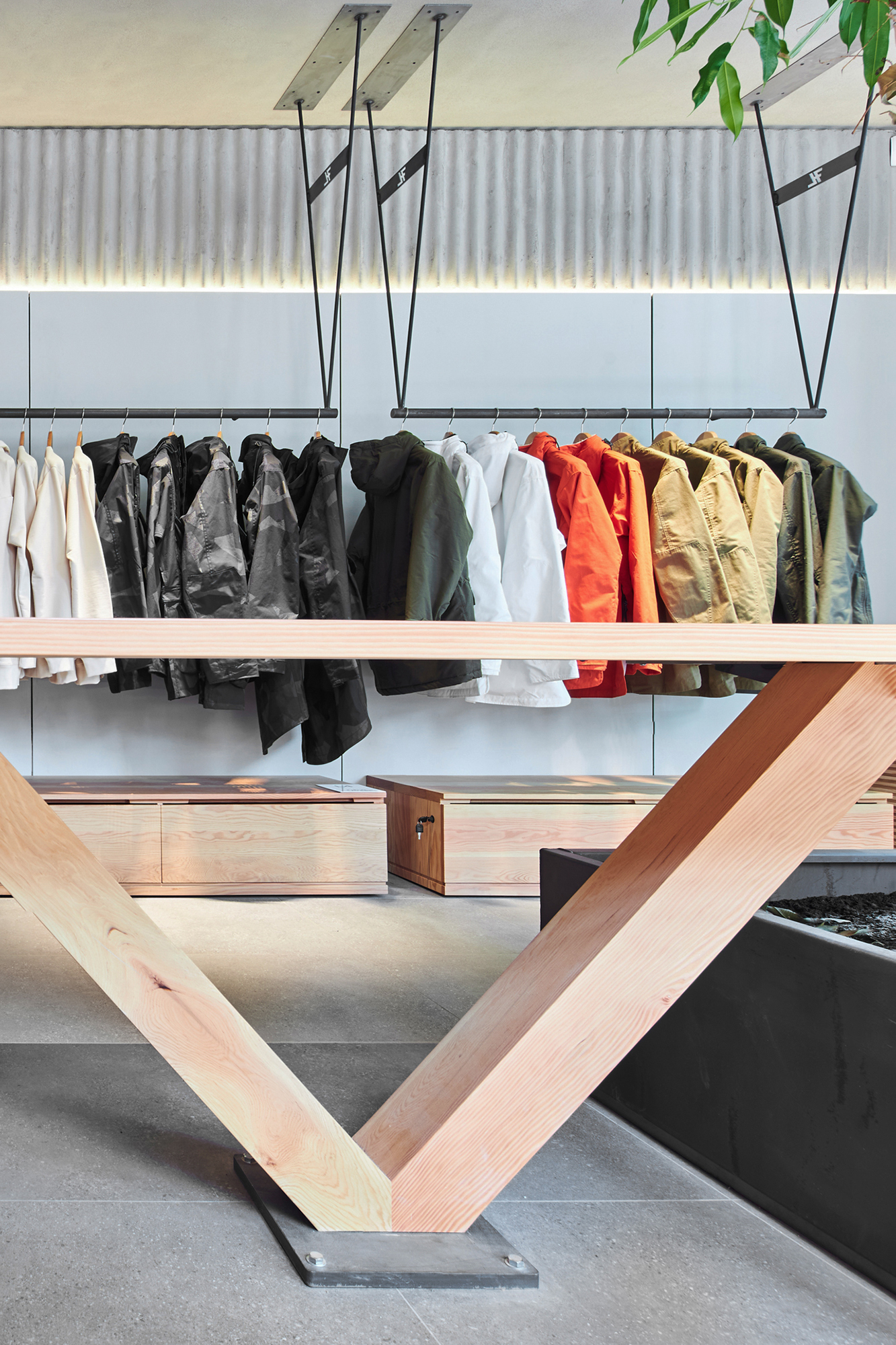 cantilever table, interior design, wood